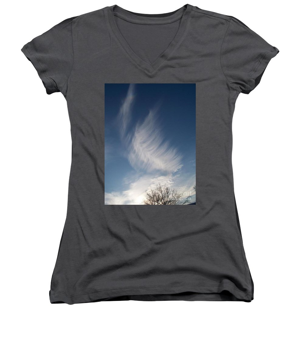 Angel Women's V-Neck T-Shirt featuring the photograph Feather Cloud By Diane Schiabor by Eric Schiabor