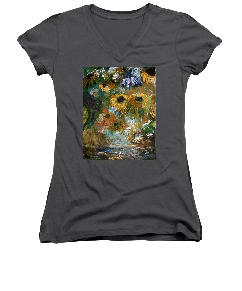 Flowers Women's V-Neck T-Shirt featuring the painting Flower Rain by Jack Diamond