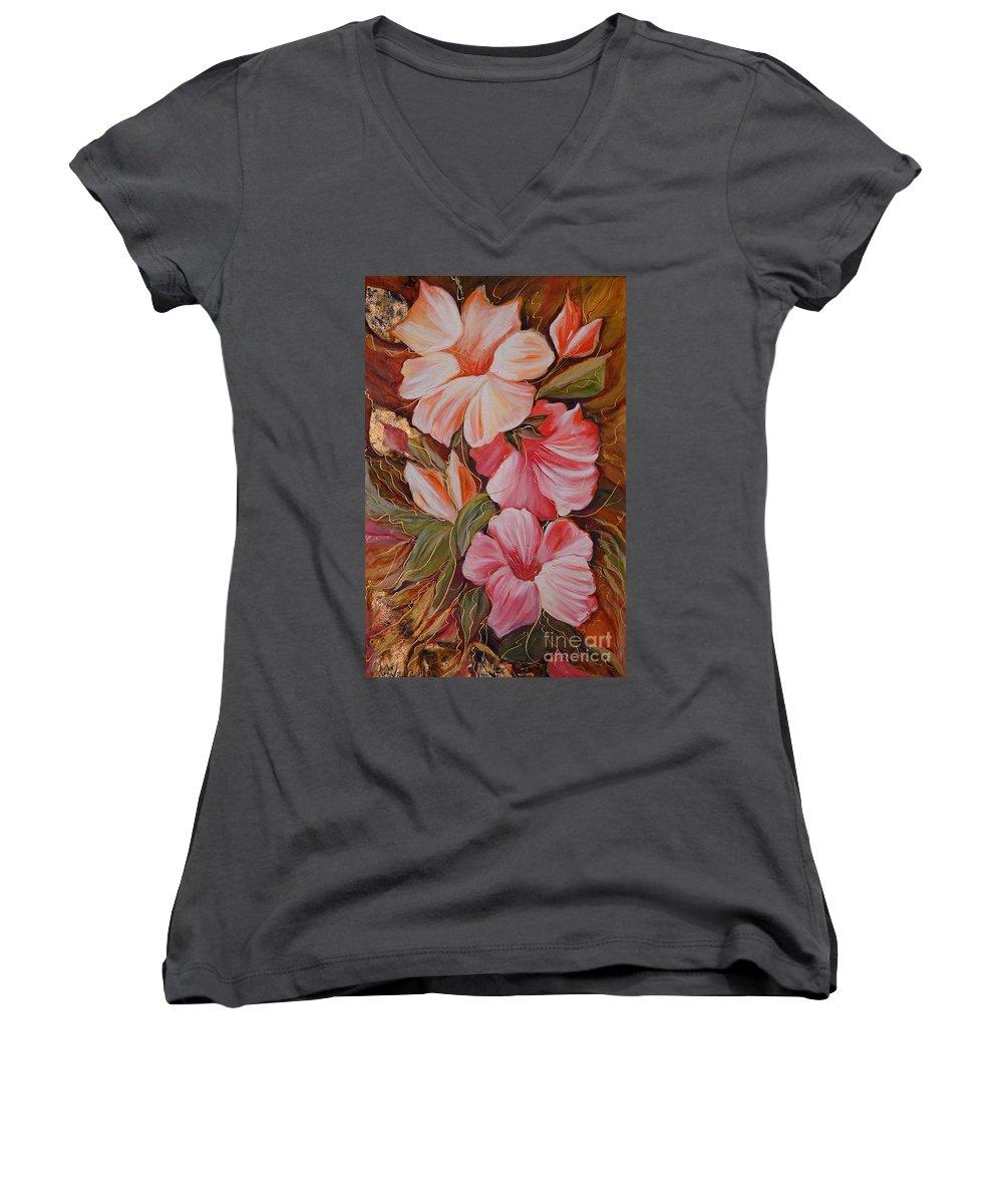 Modern Art Women's V-Neck T-Shirt featuring the painting Flowers II by Silvana Abel