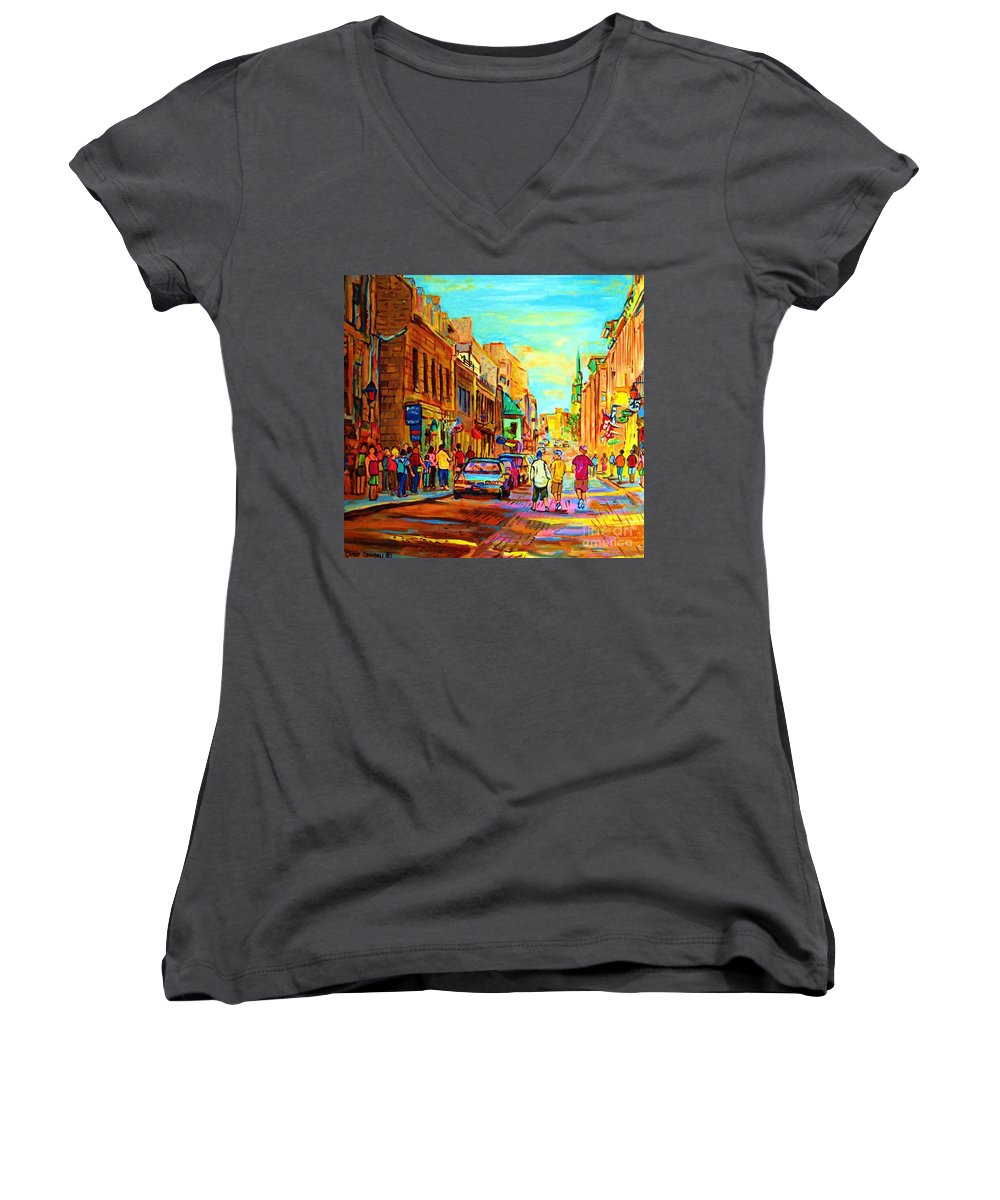 Montreal Women's V-Neck T-Shirt featuring the painting Follow The Yellow Brick Road by Carole Spandau