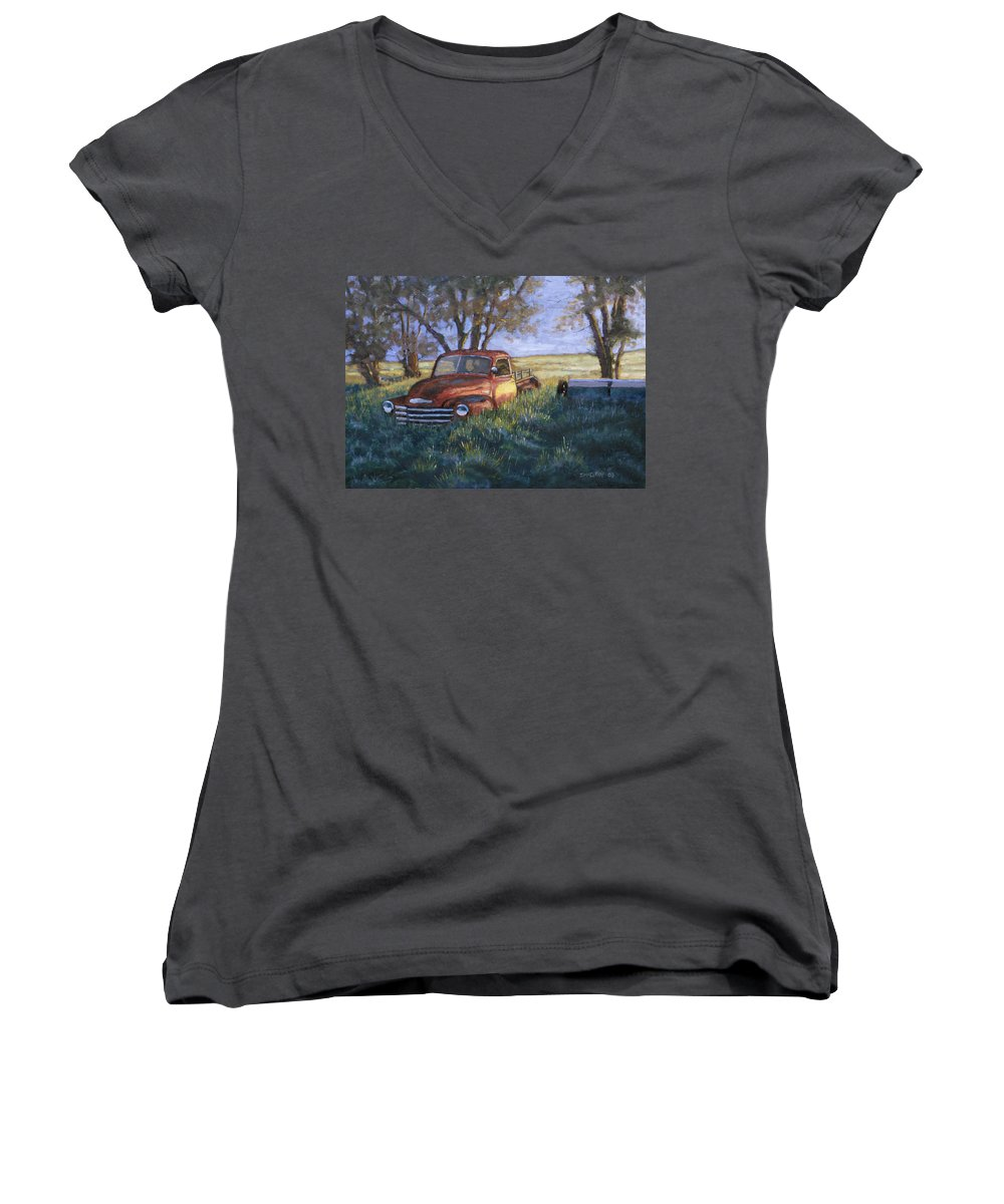 Pickup Truck Women's V-Neck T-Shirt featuring the painting Forgotten But Still Good by Jerry McElroy