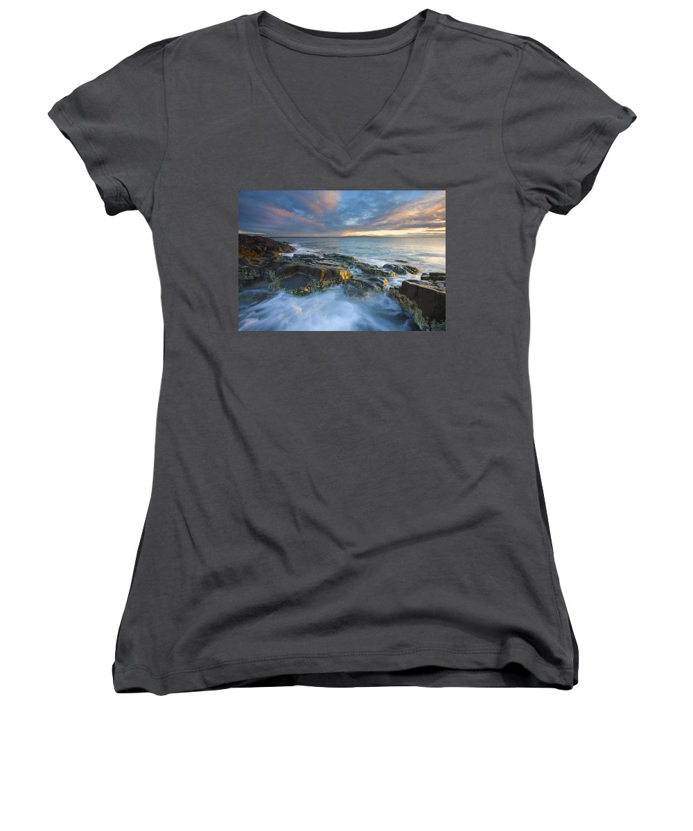 Freycinet Women's V-Neck T-Shirt featuring the photograph Freycinet Cloud Explosion by Mike Dawson