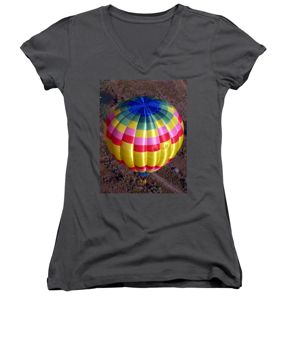Hot Air Balloon Women's V-Neck (Athletic Fit) featuring the photograph From Above by Mary Rogers