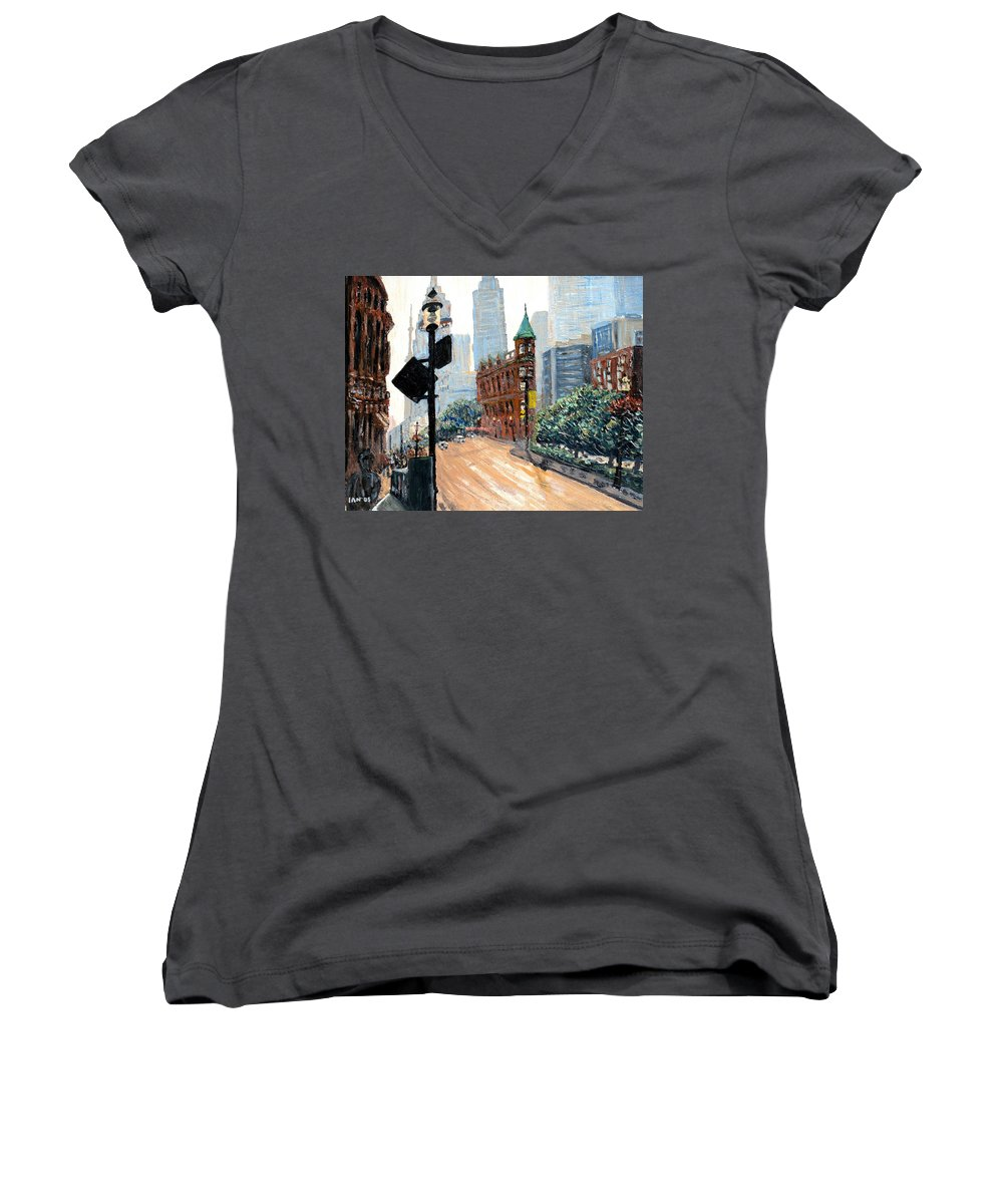 Toronto Women's V-Neck (Athletic Fit) featuring the painting Front And Church by Ian MacDonald