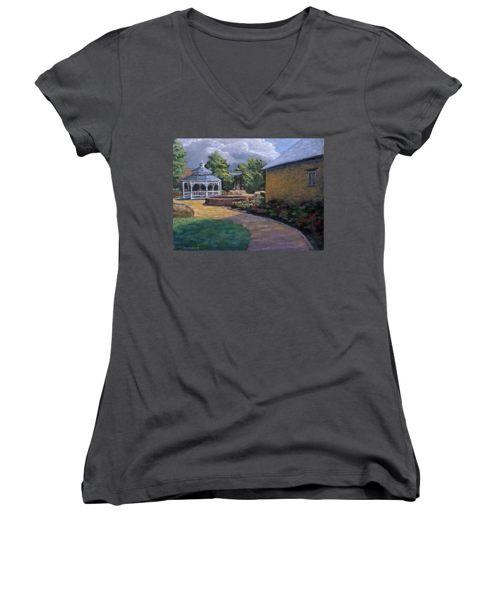Potter Women's V-Neck T-Shirt featuring the painting Gazebo In Potter Nebraska by Jerry McElroy