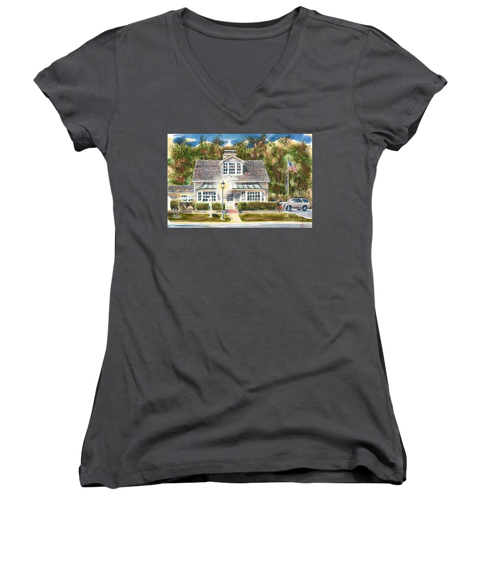 Greystone Inn Ii Women's V-Neck T-Shirt featuring the painting Greystone Inn II by Kip DeVore