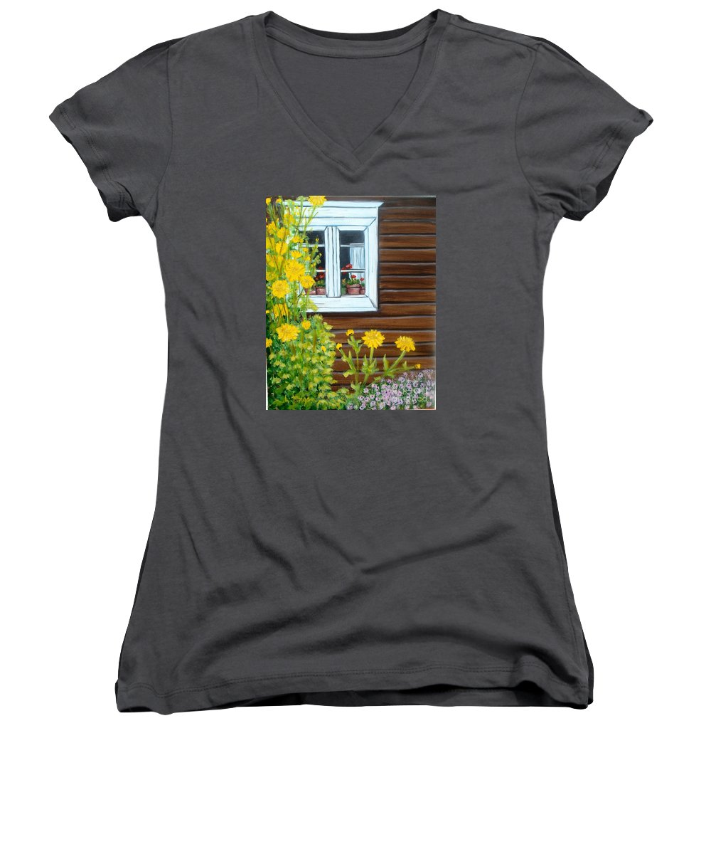 Window Women's V-Neck T-Shirt featuring the painting Happy Homestead by Laurie Morgan