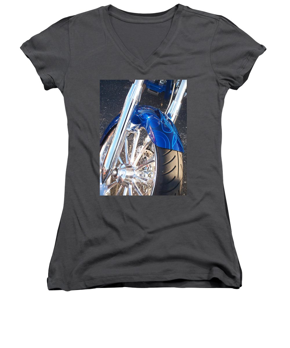 Motorcycles Women's V-Neck T-Shirt featuring the photograph Harley Close-up Blue Flame by Anita Burgermeister