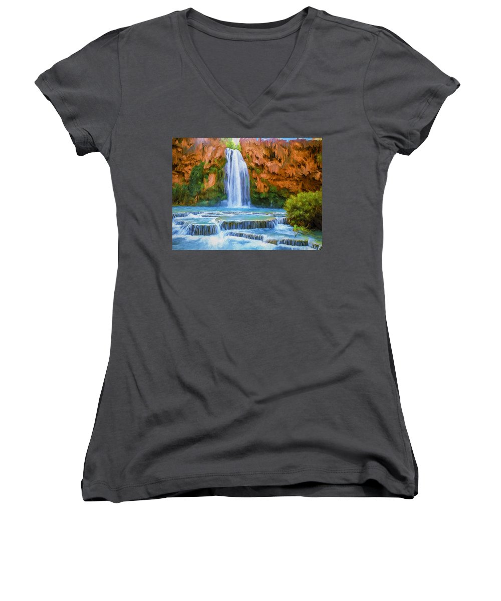 Fine Art Women's V-Neck T-Shirt featuring the painting Havasu Falls by David Wagner