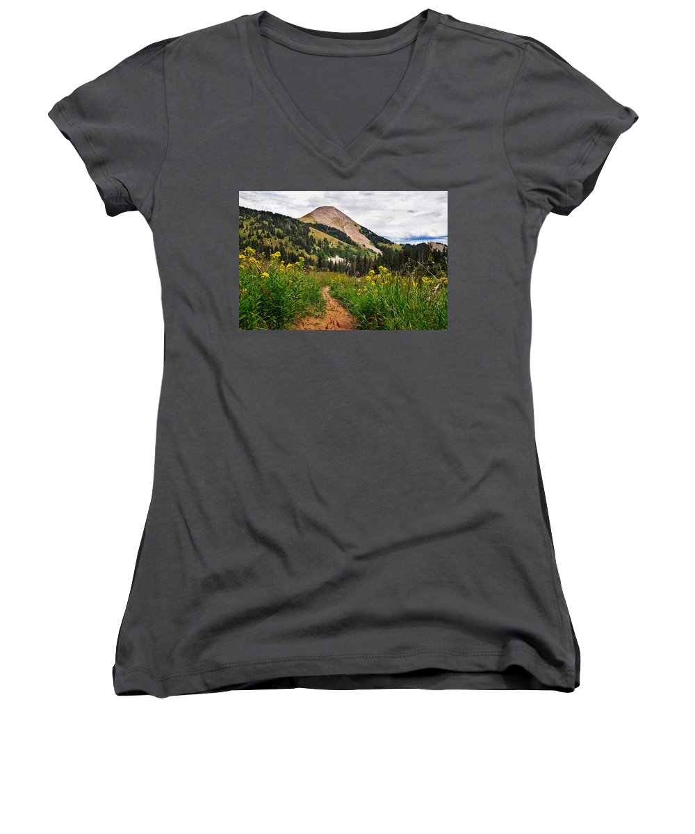 3scape Photos Women's V-Neck T-Shirt featuring the photograph Hiking In La Sal by Adam Romanowicz