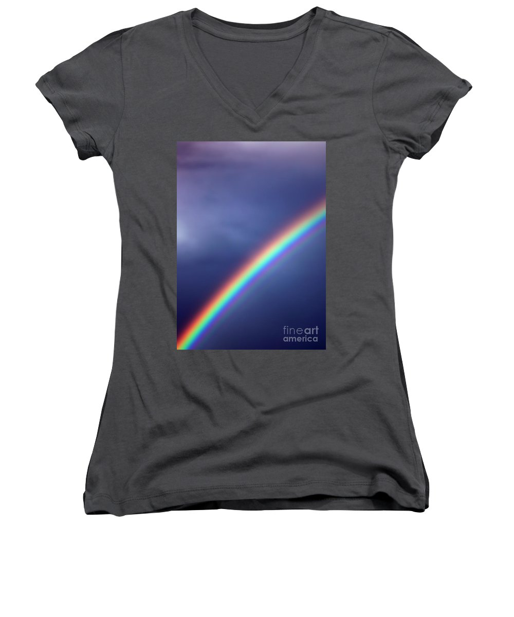 Rainbow Women's V-Neck T-Shirt featuring the photograph Hold On For Hope by Amanda Barcon
