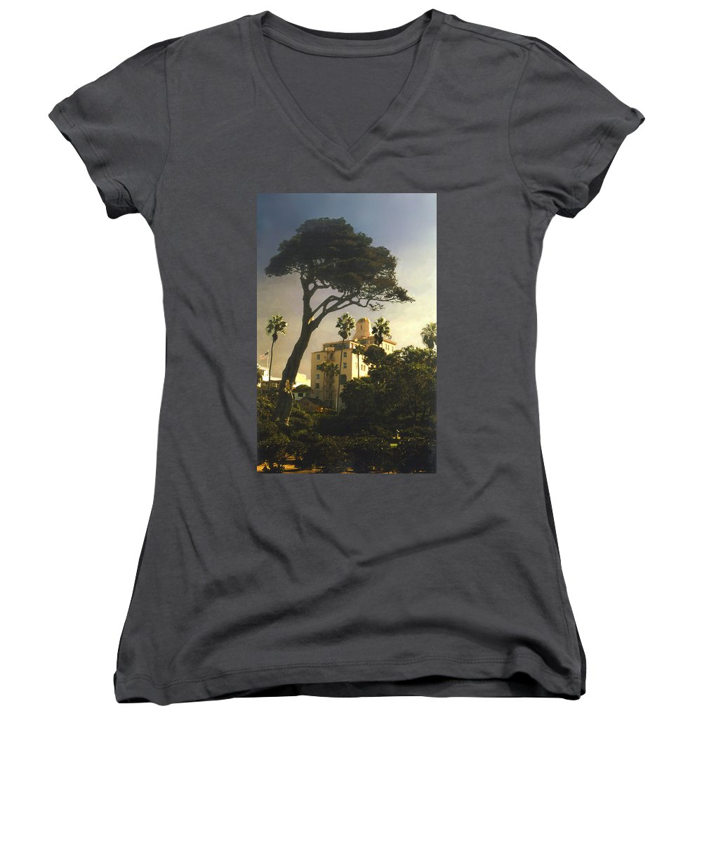Landscape Women's V-Neck (Athletic Fit) featuring the photograph Hotel California- La Jolla by Steve Karol