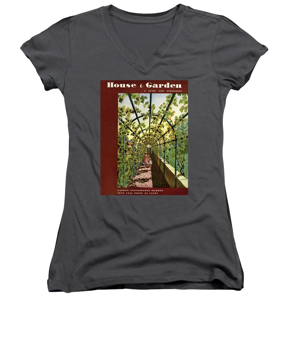 House & Garden Women's V-Neck featuring the photograph House & Garden Cover Illustration Of Young Girls by Pierre Brissaud