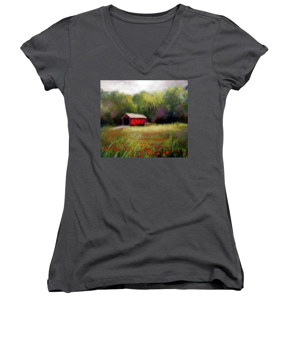 Covered Bridge Women's V-Neck T-Shirt featuring the painting Hune Bridge by Gail Kirtz
