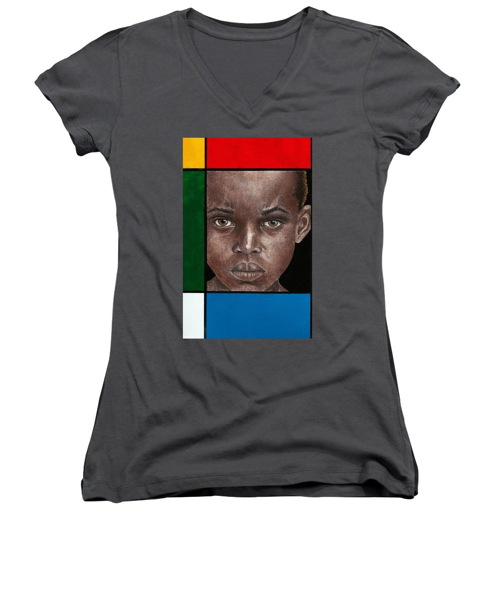African American Artwork Women's V-Neck T-Shirt featuring the mixed media Intense by Edith Peterson-Watson