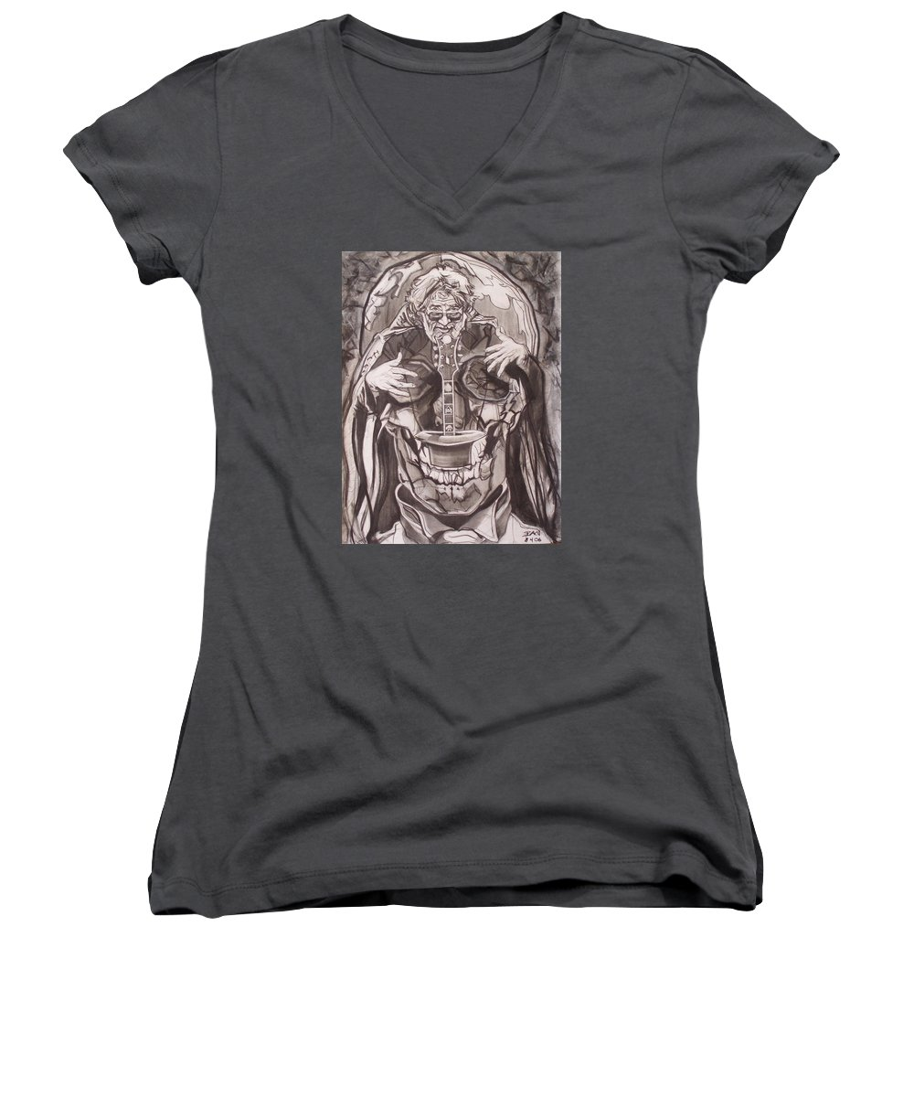 Charcoal; Skull;guitar;music;magic;mystic;wizard;cape;hat;shades;grateful Dead;deadheads Women's V-Neck (Athletic Fit) featuring the drawing Jerry Garcia . . Magic Is What We Do - Music Is How We Do It by Sean Connolly