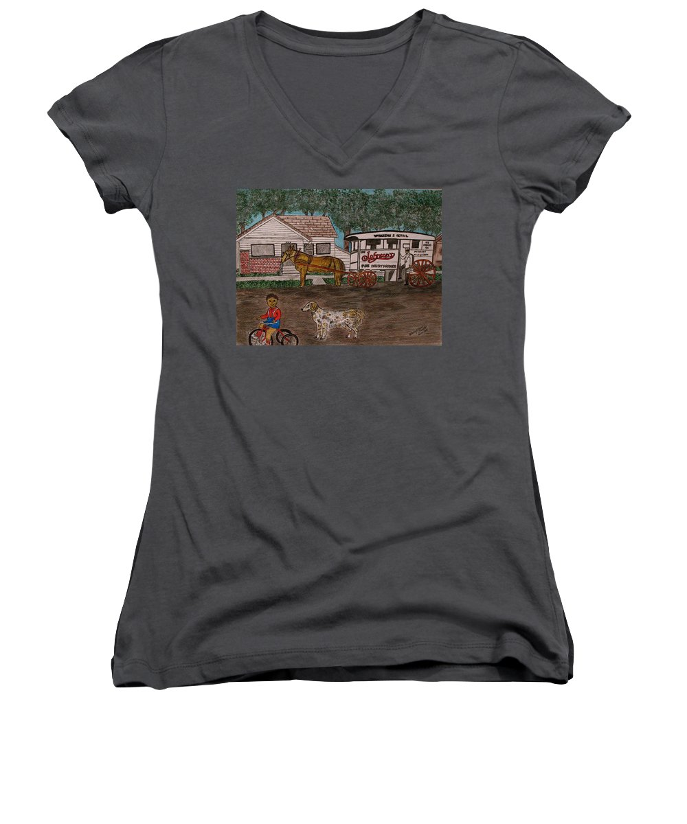 Johnson Creamery Women's V-Neck (Athletic Fit) featuring the painting Johnsons Milk Wagon Pulled By A Horse by Kathy Marrs Chandler