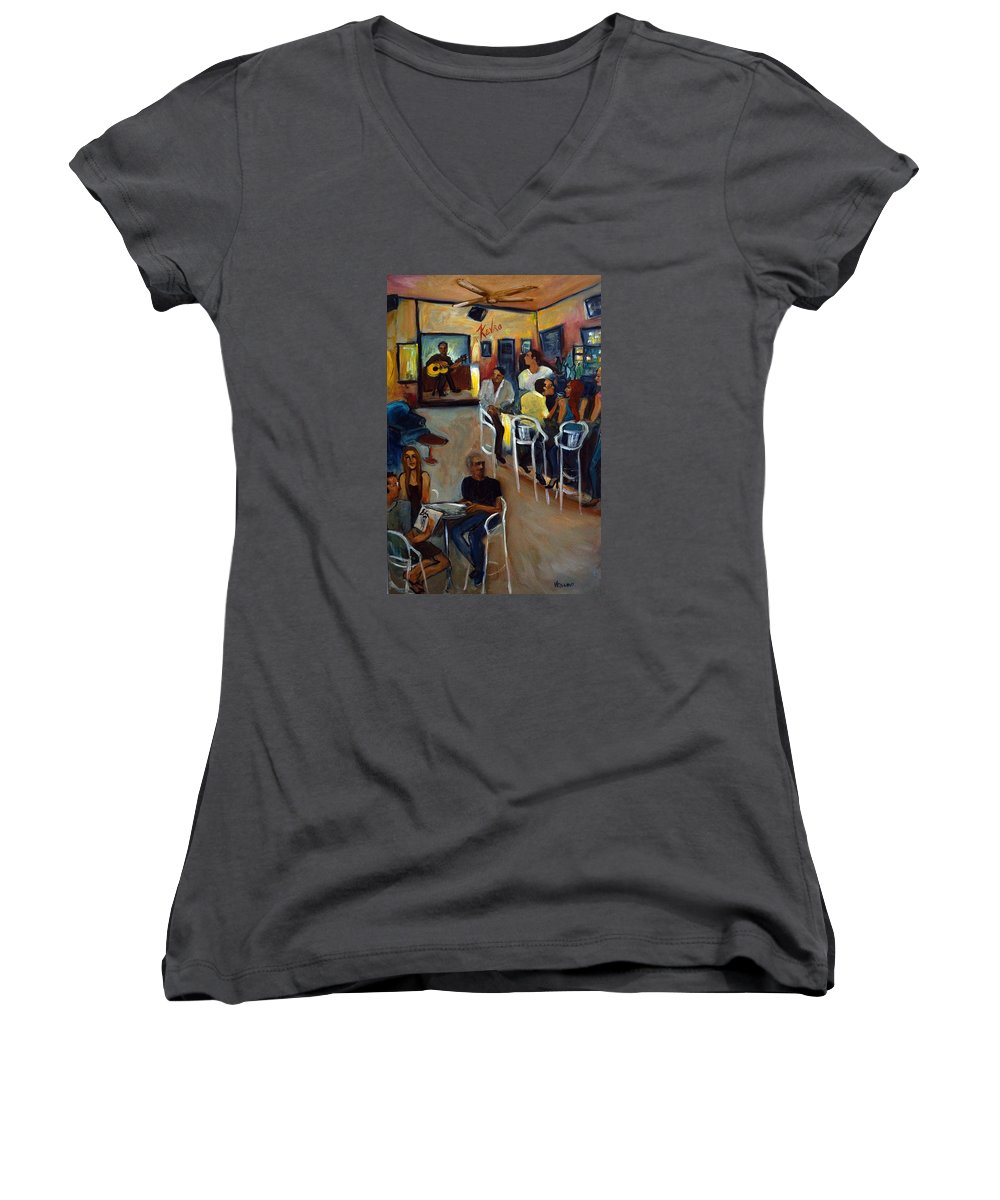 Art Bar Women's V-Neck T-Shirt featuring the painting Kevro's Art Bar by Valerie Vescovi