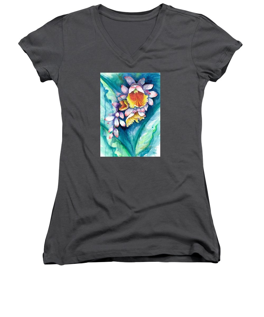 Key West Women's V-Neck featuring the painting Key West Ginger by Ashley Kujan