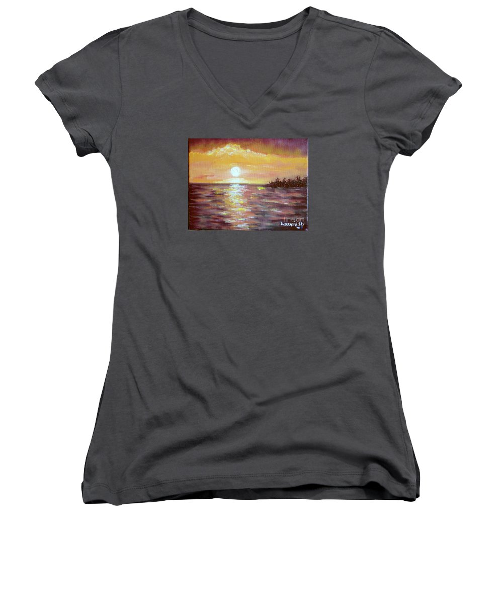 Sunset Women's V-Neck (Athletic Fit) featuring the painting Kona Sunset by Laurie Morgan