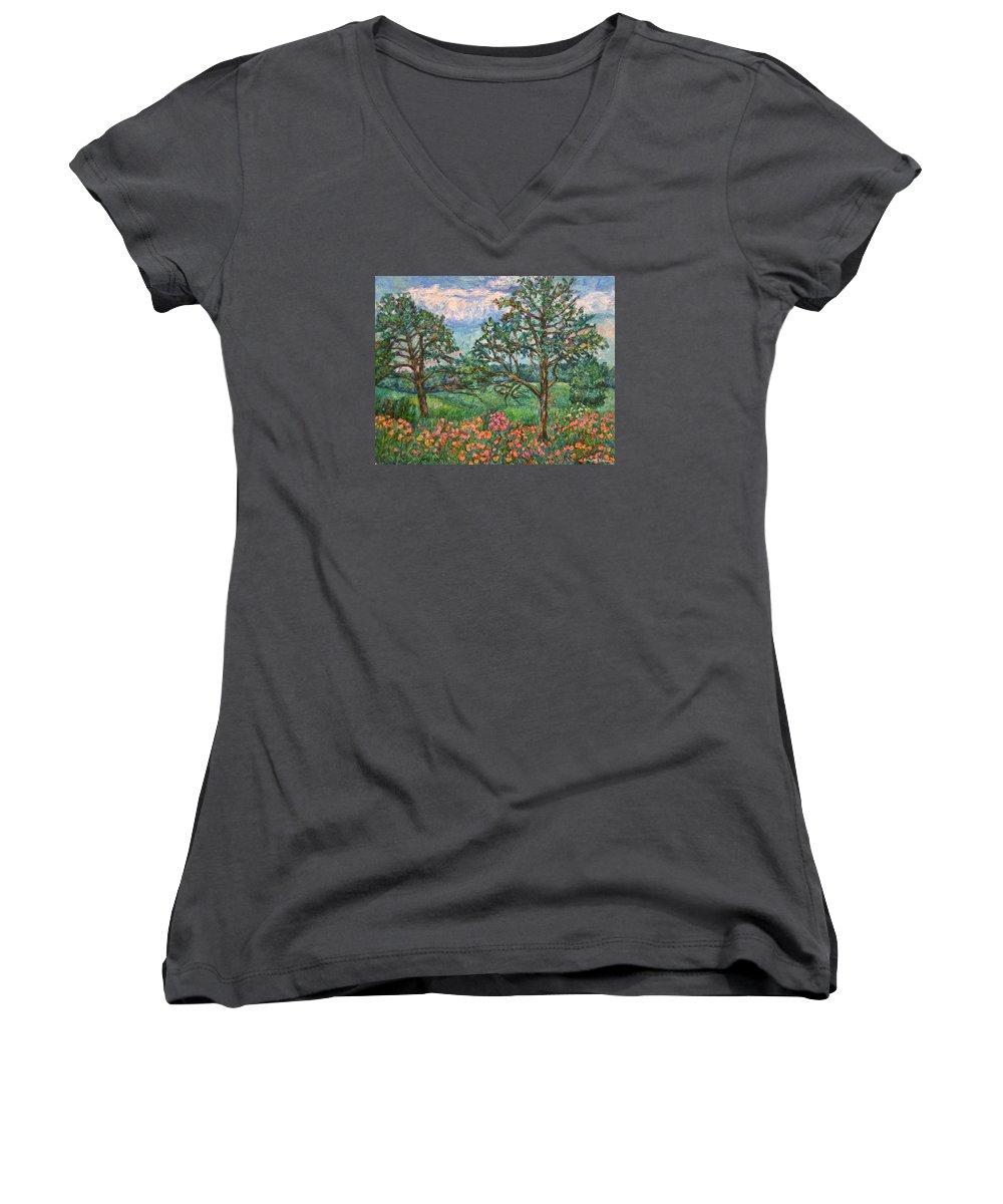 Landscape Women's V-Neck T-Shirt featuring the painting Kraft Avenue In Blacksburg by Kendall Kessler