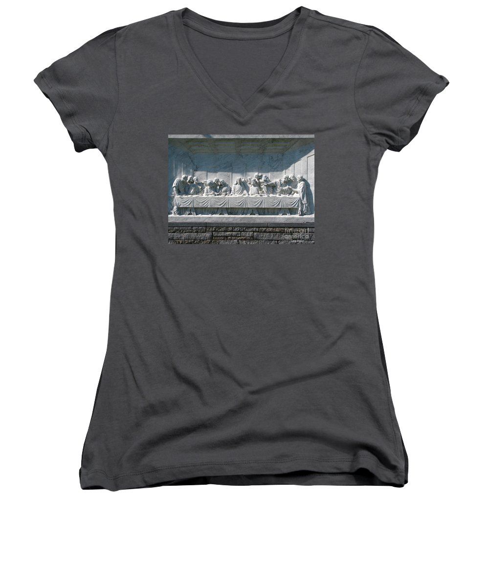 Art For The Wall...patzer Photography Women's V-Neck (Athletic Fit) featuring the photograph Last Supper by Greg Patzer