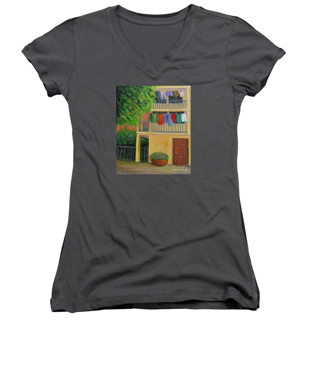 Laundry Women's V-Neck (Athletic Fit) featuring the painting Laundry Day by Laurie Morgan