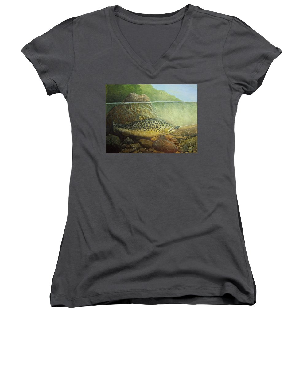 Rick Huotari Women's V-Neck (Athletic Fit) featuring the painting Lurking by Rick Huotari