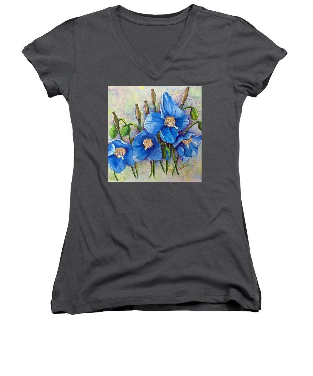 Blue Hymalayan Poppy Women's V-Neck (Athletic Fit) featuring the painting Meconopsis  Himalayan Blue Poppy by Karin Dawn Kelshall- Best
