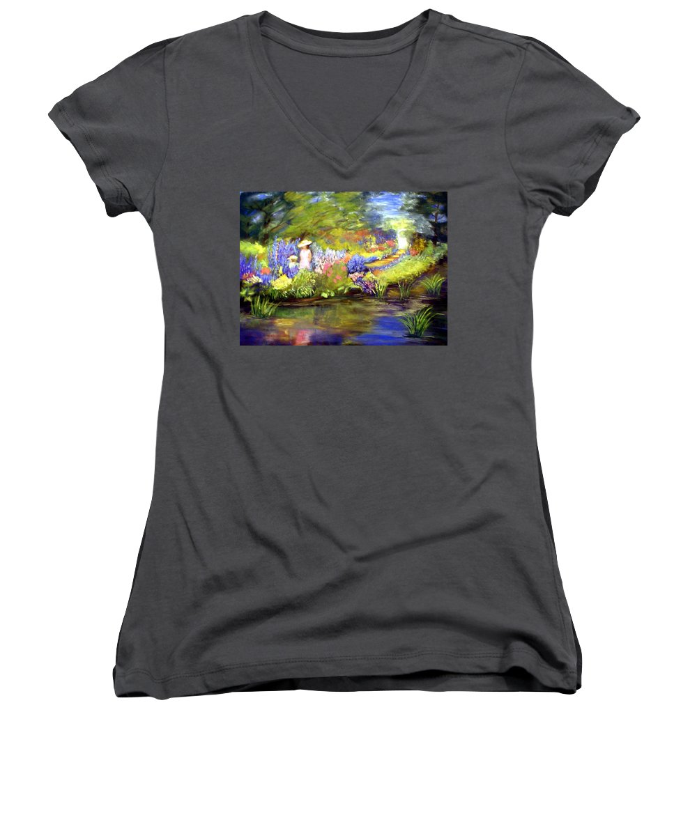 Flower Garden Women's V-Neck T-Shirt featuring the painting Mother And Daughter by Gail Kirtz