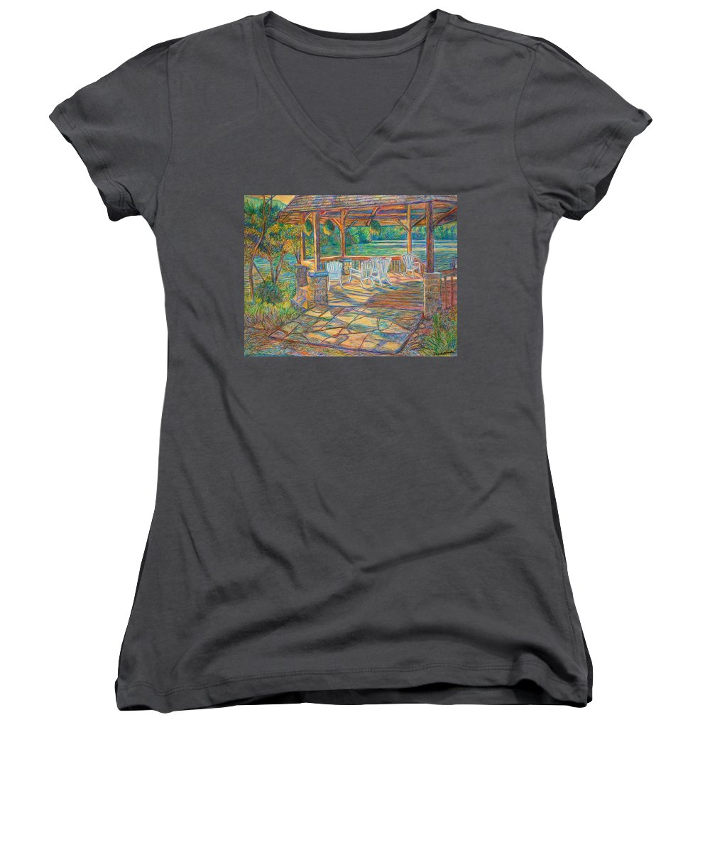 Lake Women's V-Neck (Athletic Fit) featuring the painting Mountain Lake Shadows by Kendall Kessler