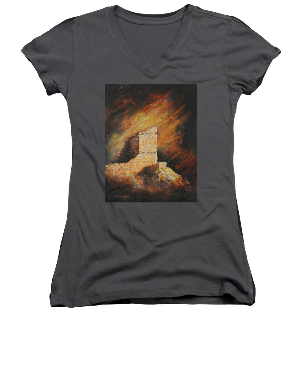 Anasazi Women's V-Neck (Athletic Fit) featuring the painting Mummy Cave Ruins 2 by Jerry McElroy