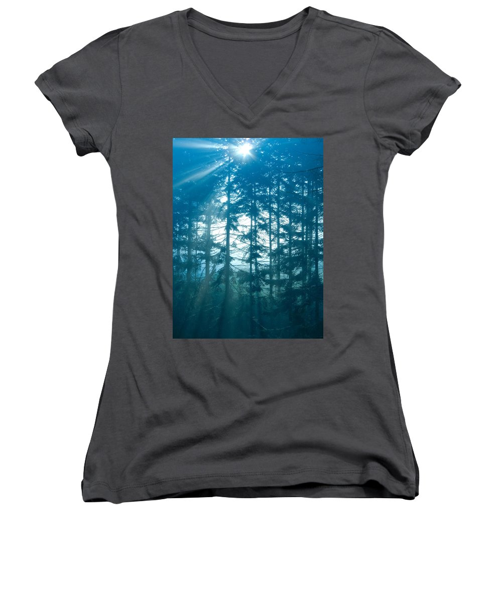 Nature Women's V-Neck (Athletic Fit) featuring the photograph Mystic Light by Daniel Csoka