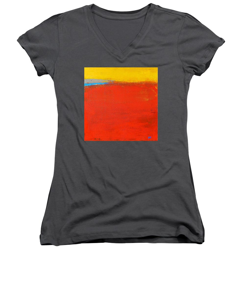 Landscape Women's V-Neck T-Shirt featuring the painting Nature Rouge by Habib Ayat