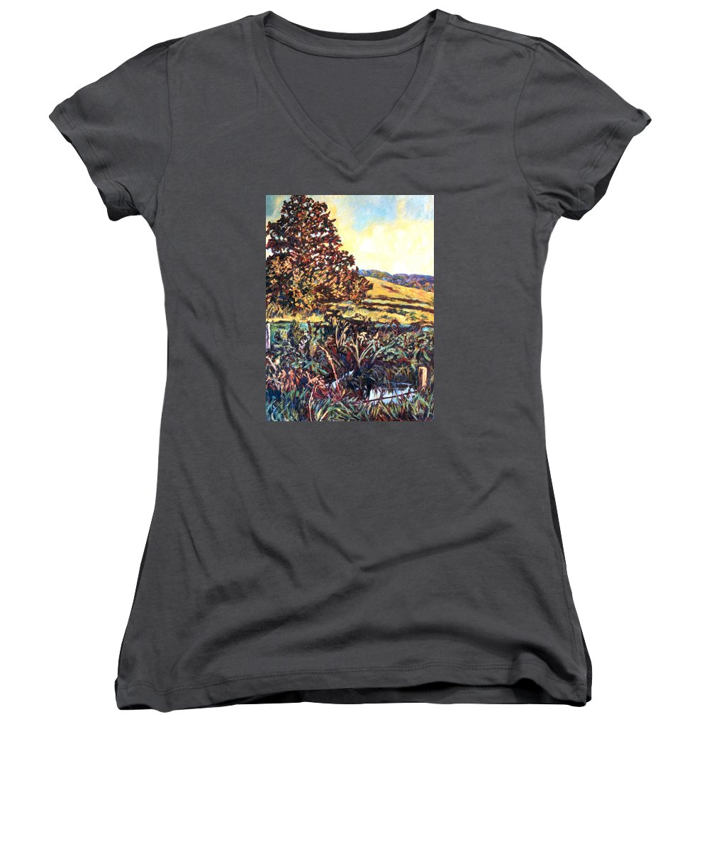 Landscape Women's V-Neck T-Shirt featuring the painting Near Childress by Kendall Kessler