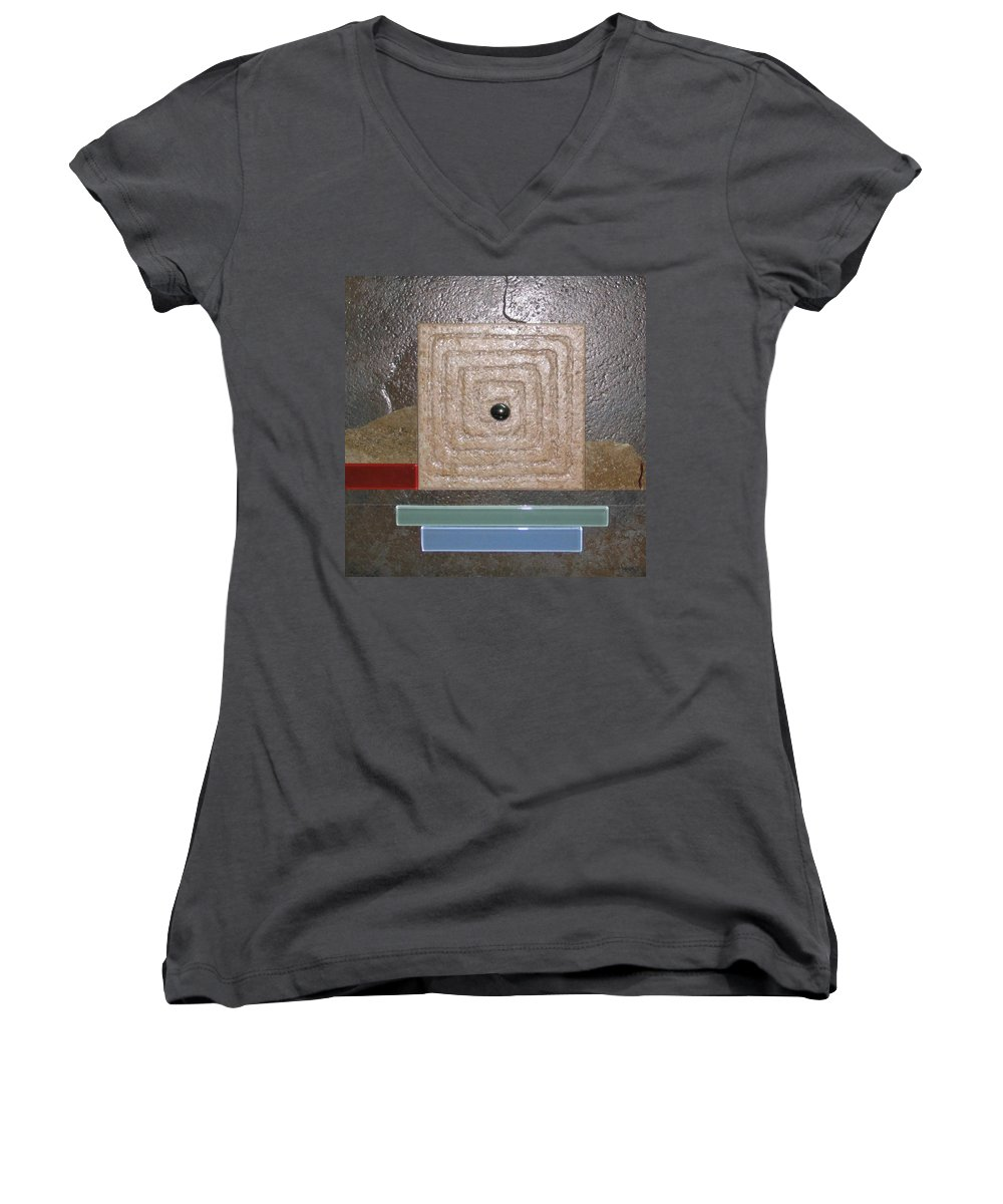 Assemblage Women's V-Neck T-Shirt featuring the relief New Moon by Elaine Booth-Kallweit