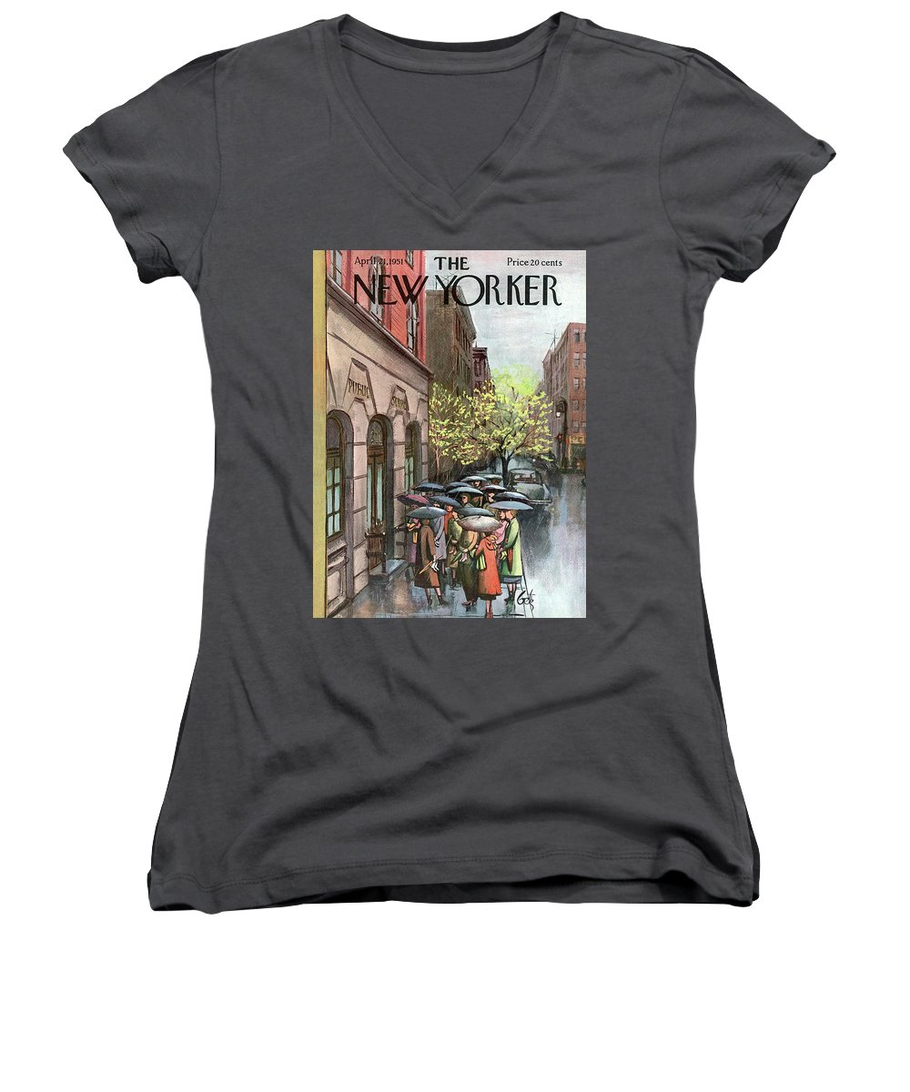 Urban Women's V-Neck featuring the painting New Yorker April 21st, 1951 by Arthur Getz