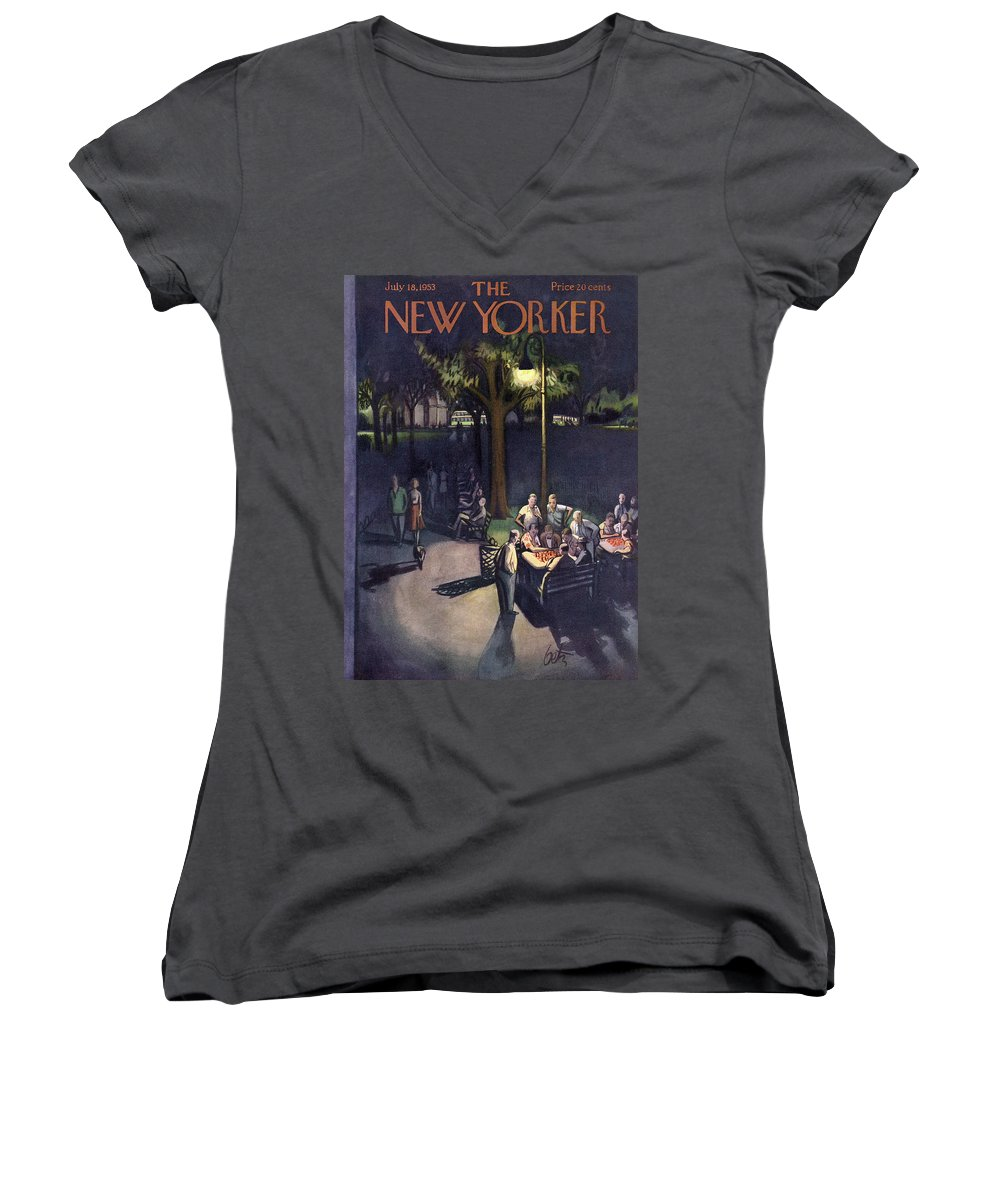 Urban Women's V-Neck featuring the painting New Yorker July 18th, 1953 by Arthur Getz