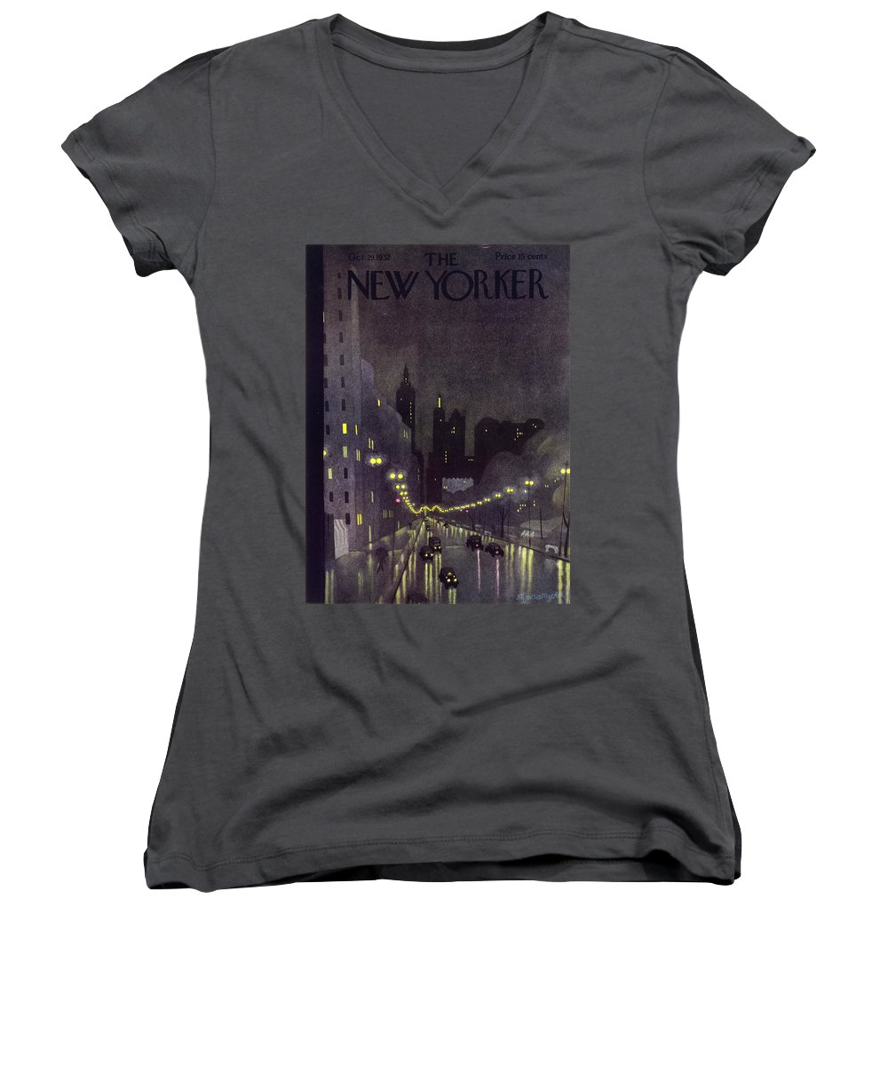 Illustration Women's V-Neck featuring the painting New Yorker October 29 1932 by Arthur K Kronengold