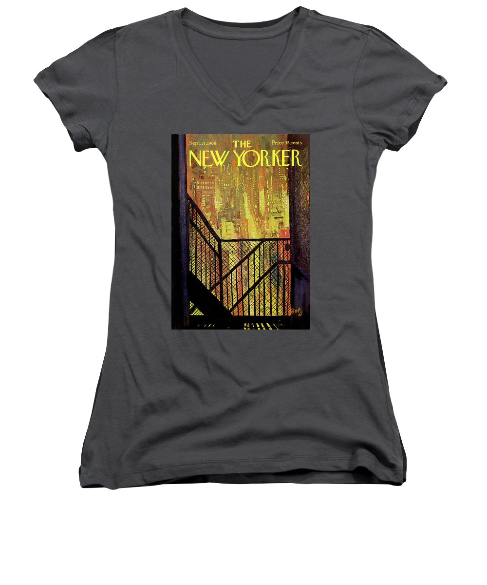 Arthur Getz Agt Women's V-Neck featuring the painting New Yorker September 21st, 1968 by Arthur Getz