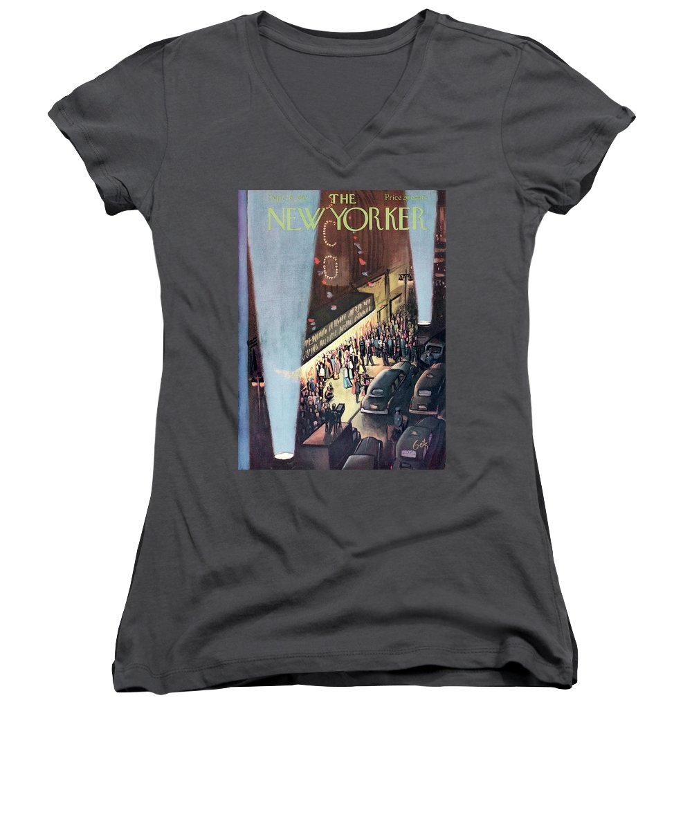 Urban Women's V-Neck featuring the painting New Yorker September 26th, 1953 by Arthur Getz