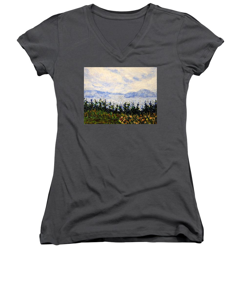 Newfoundland Women's V-Neck (Athletic Fit) featuring the painting Newfoundland Up The West Coast by Ian MacDonald