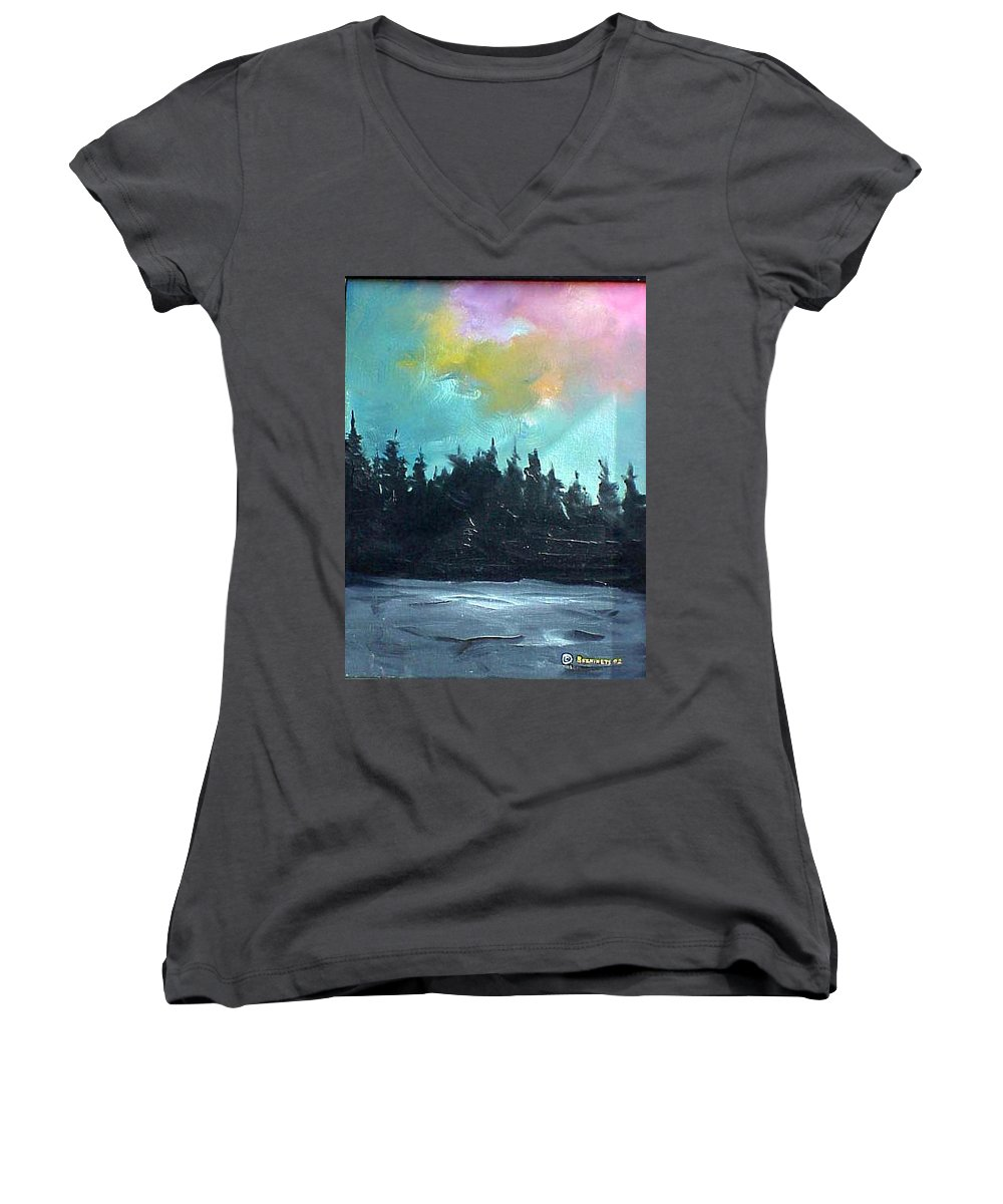 Landscape Women's V-Neck (Athletic Fit) featuring the painting Night River by Sergey Bezhinets