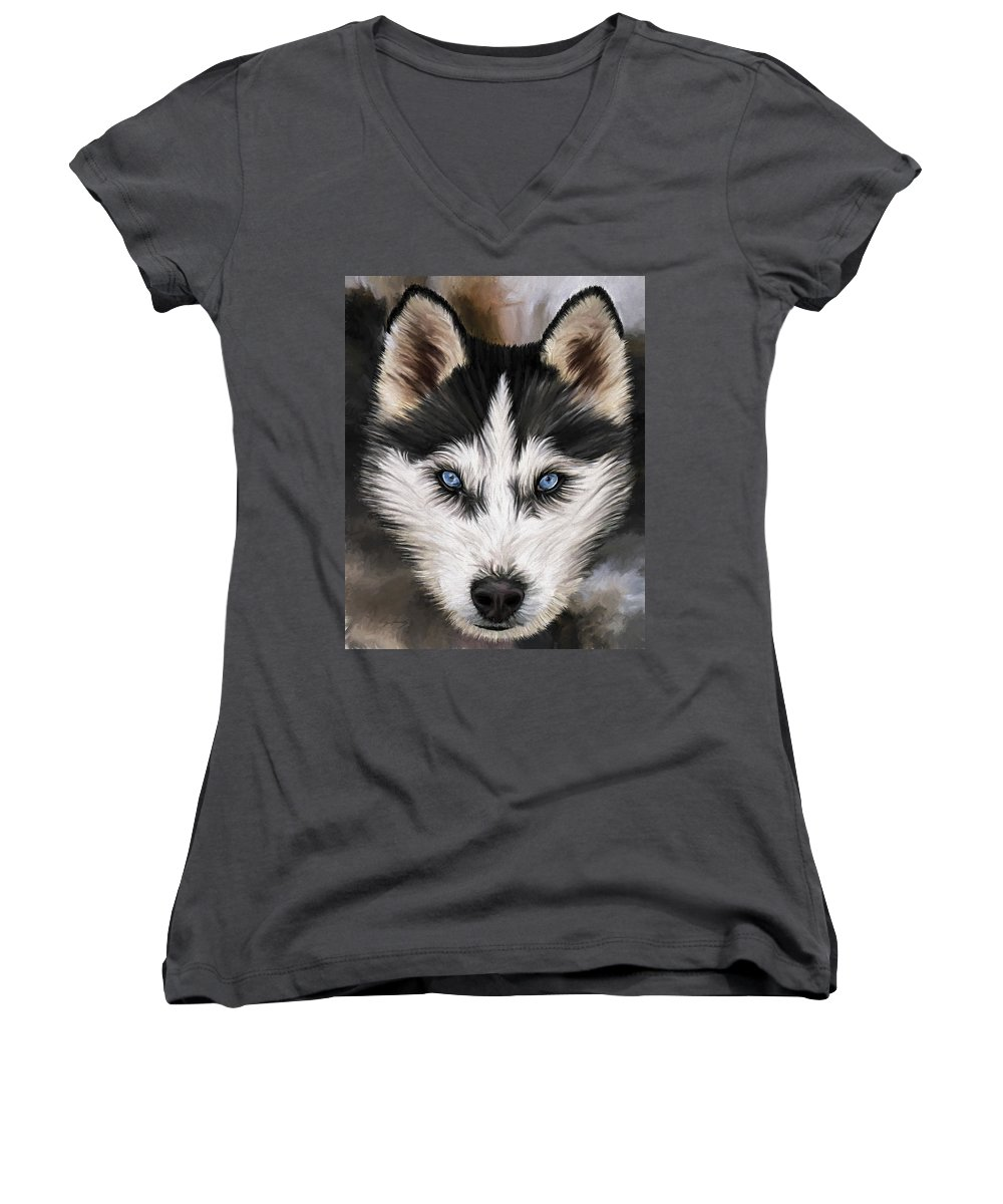 Dog Art Women's V-Neck (Athletic Fit) featuring the painting Nikki by David Wagner