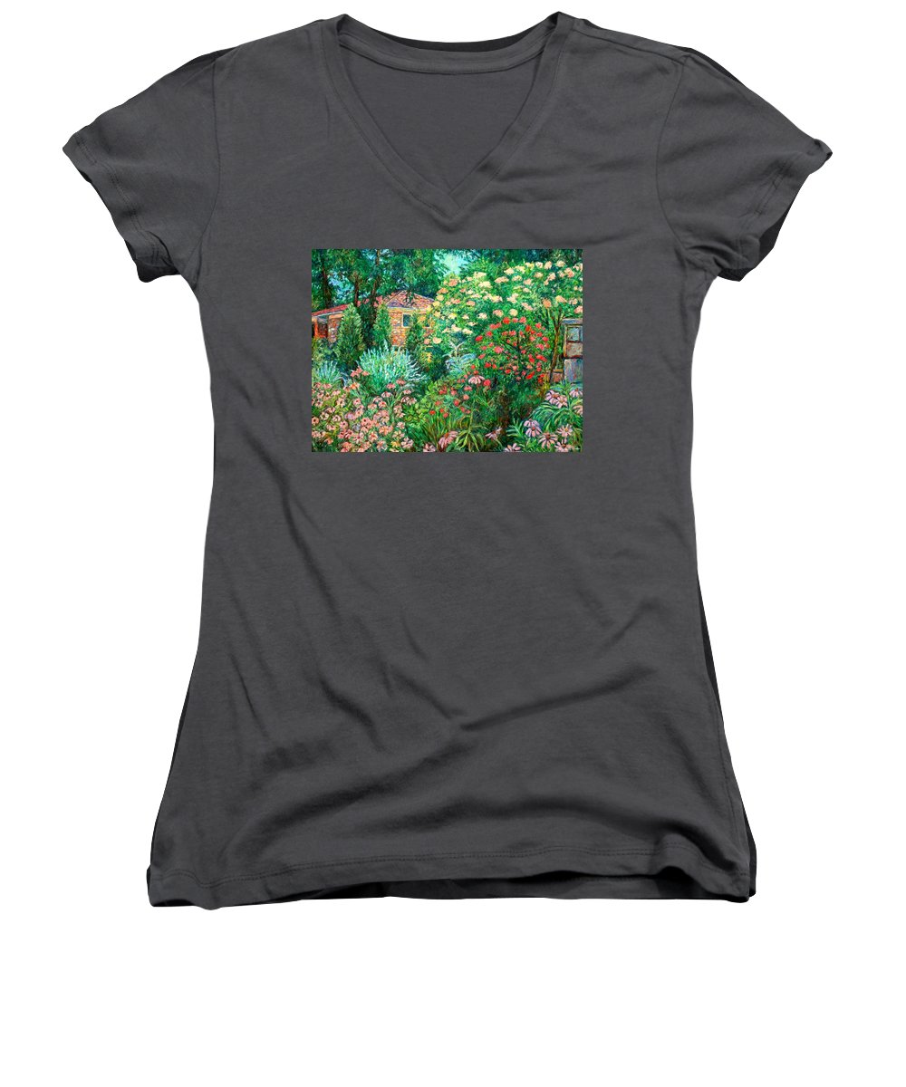 Garden Women's V-Neck T-Shirt featuring the painting North Albemarle In Mclean Va by Kendall Kessler