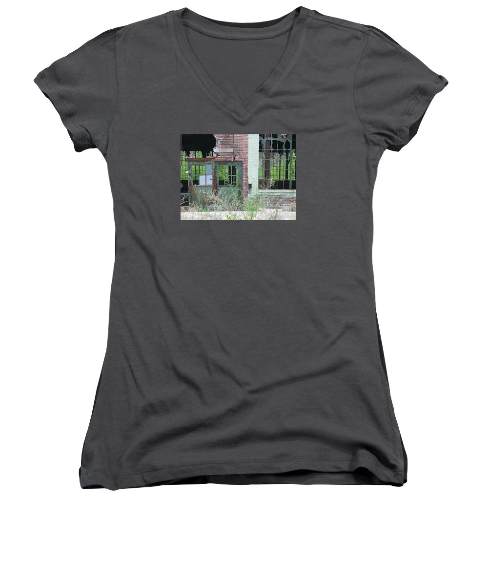 Factory Women's V-Neck T-Shirt featuring the photograph Obsolete by Ann Horn
