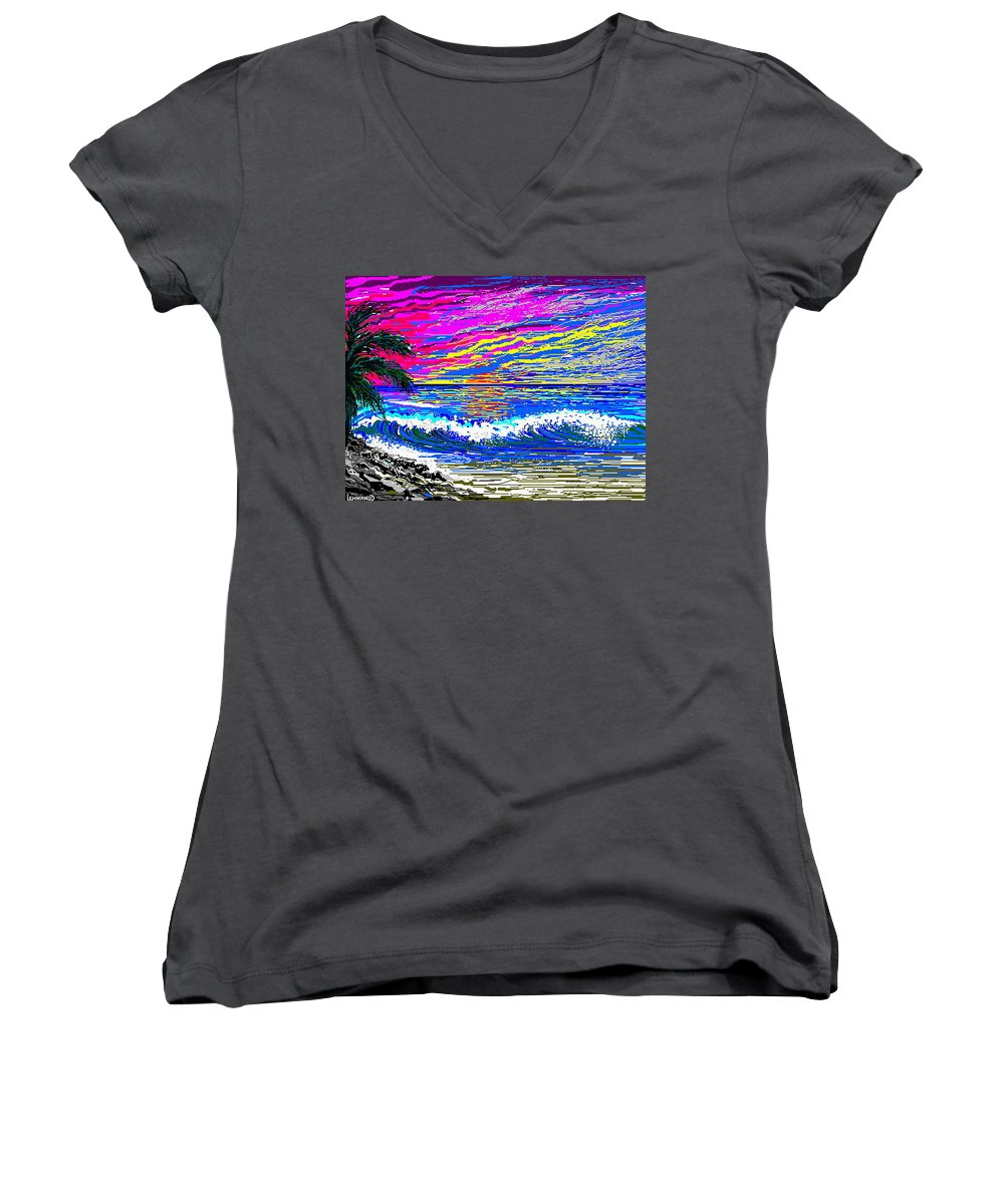 Ocean Sunset Quickly Sketched In One Hour. Women's V-Neck (Athletic Fit) featuring the digital art Ocean Sunset by Larry Lehman