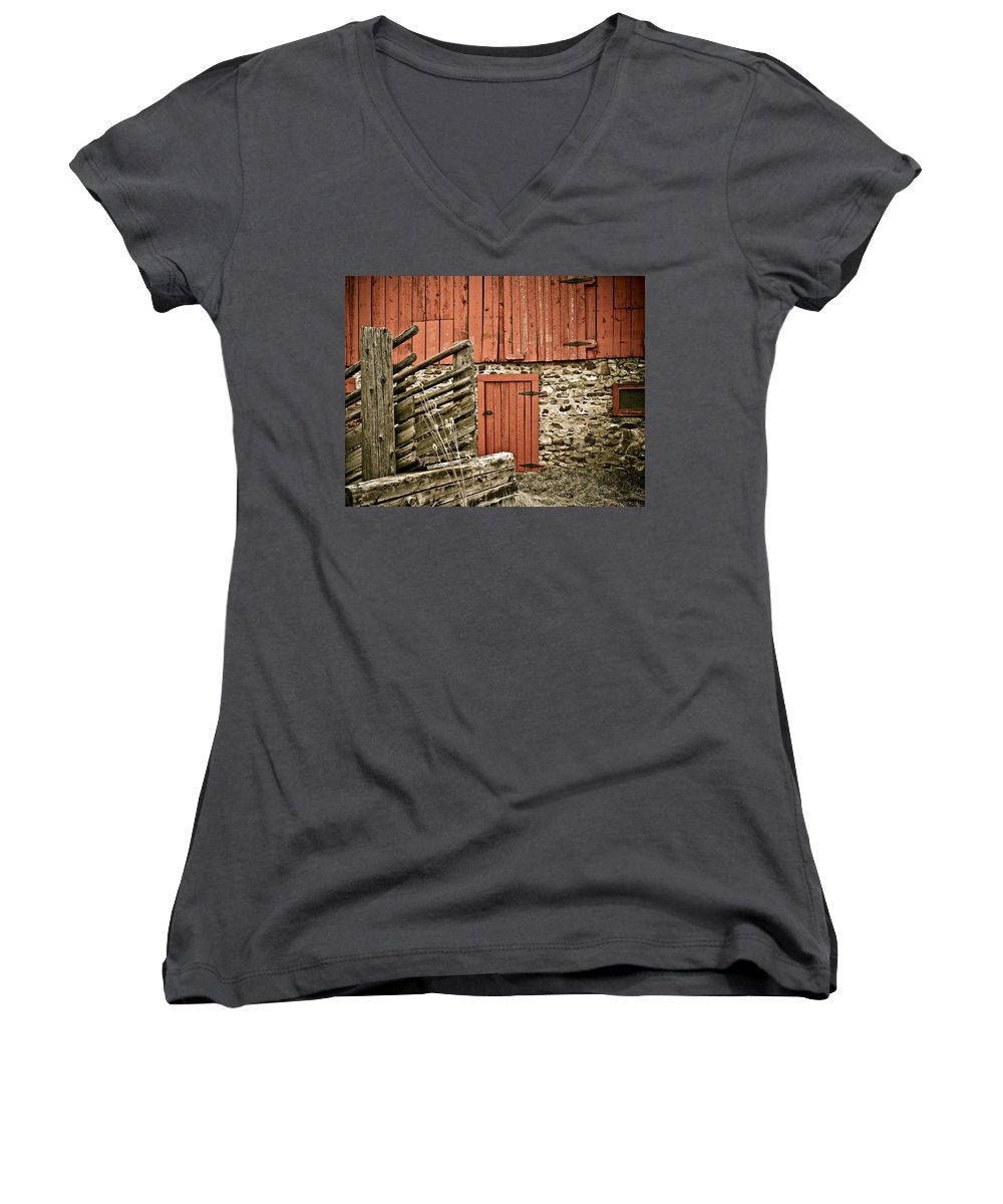 Old Women's V-Neck (Athletic Fit) featuring the photograph Old Wood by Marilyn Hunt