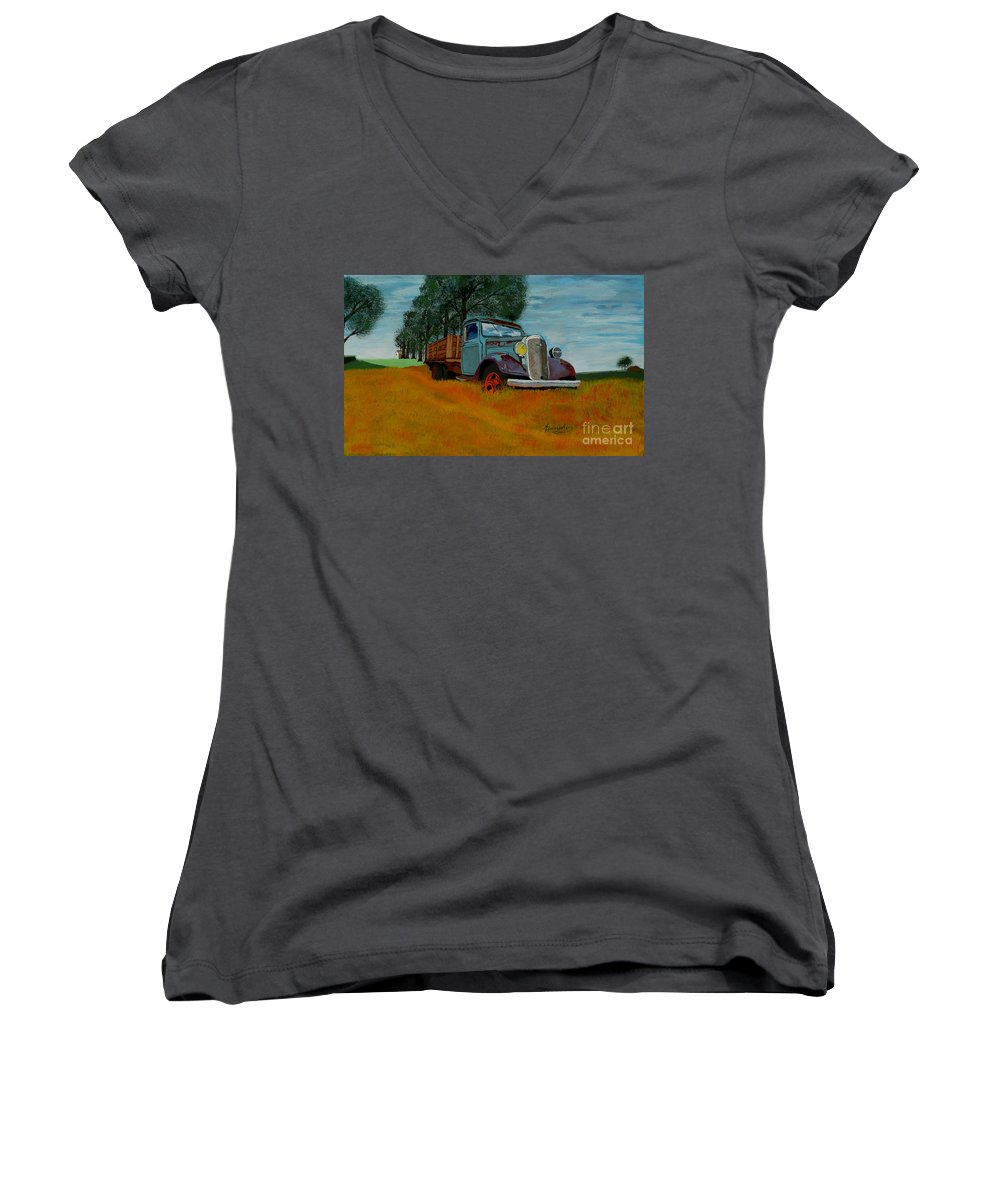 Truck Women's V-Neck (Athletic Fit) featuring the painting Out To Pasture by Anthony Dunphy