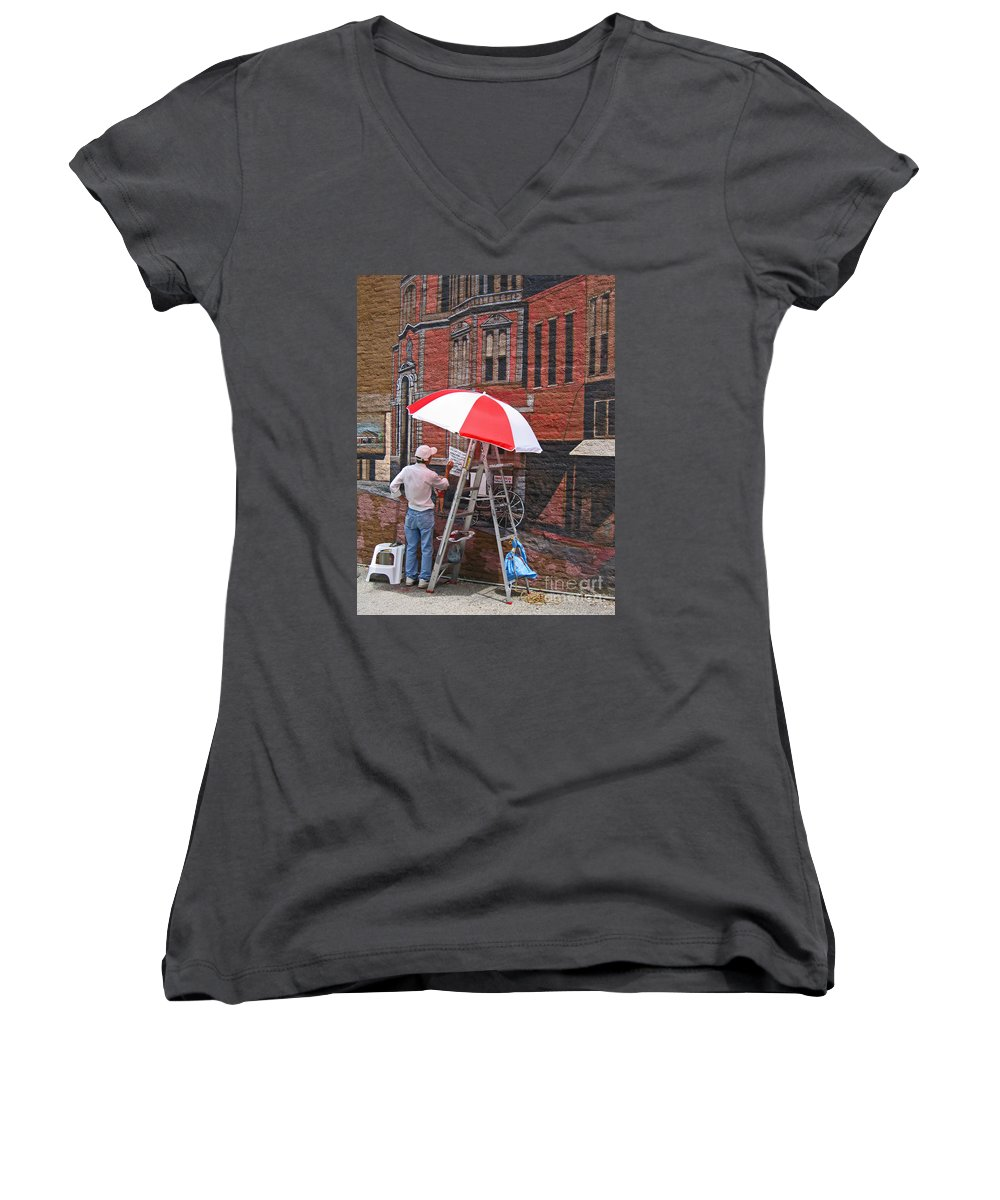 Artist Women's V-Neck (Athletic Fit) featuring the photograph Painting The Past by Ann Horn